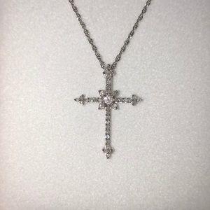 Diamond and White Gold Cross
